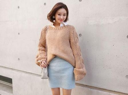 chân váy len kết hợp áo len