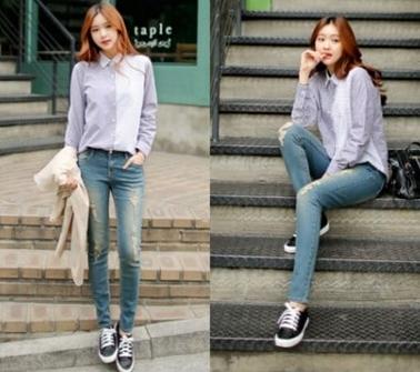 quần jean với giày thể thao