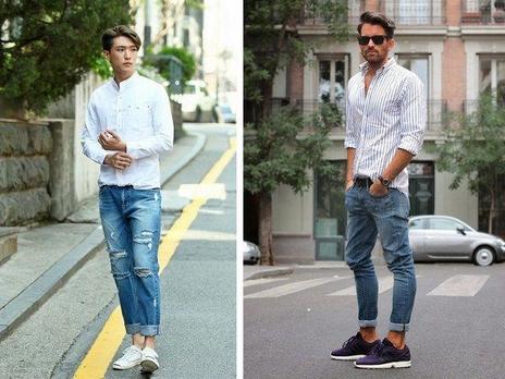 quần jeans với giày thể thao nam
